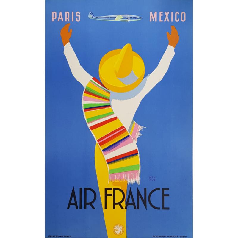 Affiche ancienne originale Air France PARIS MEXICO Edmond MAURUS