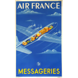 Affiche ancienne originale Air France Messageries Atelier PERCEVAL