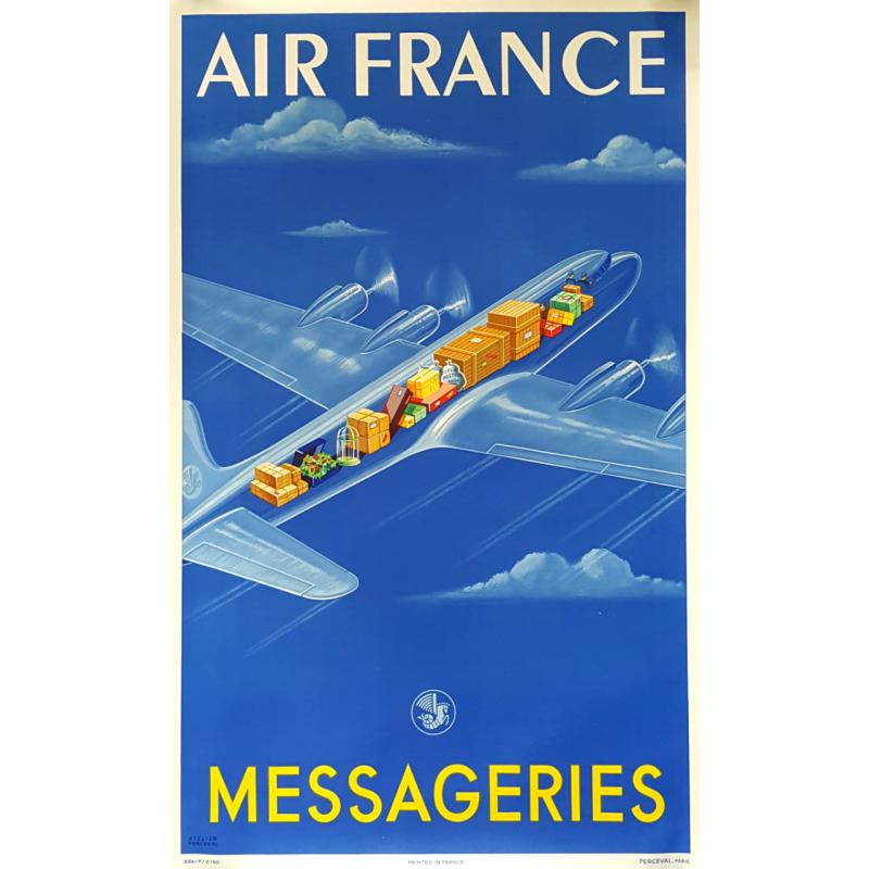 Affiche ancienne originale Air France Messageries Atelier PERCEVAL
