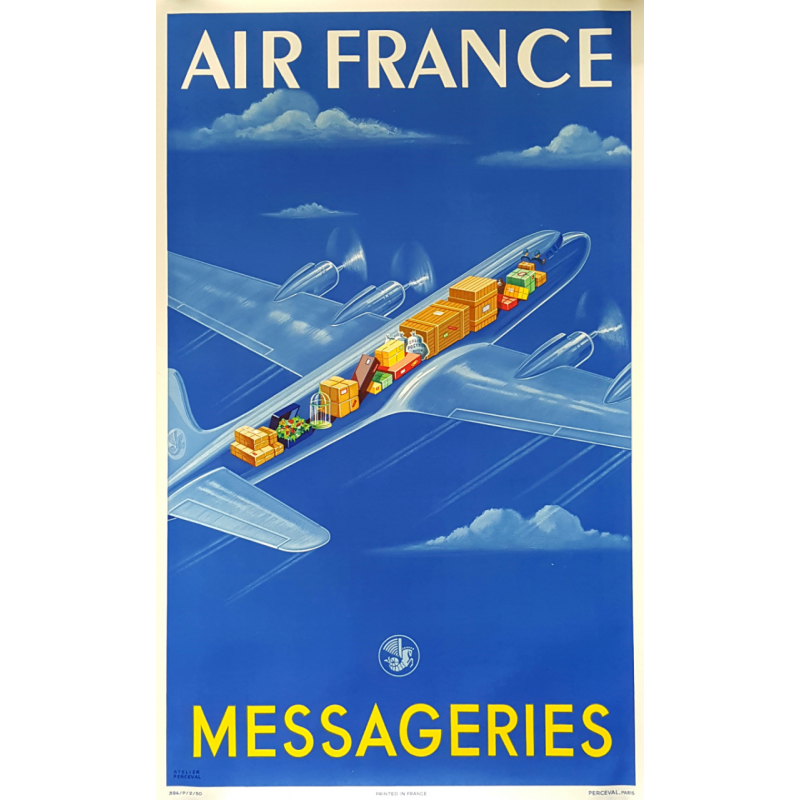 Original vintage poster Air France Messageries Atelier PERCEVAL