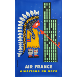 Original vintage poster Air France Amérique du Nord Jean COLIN