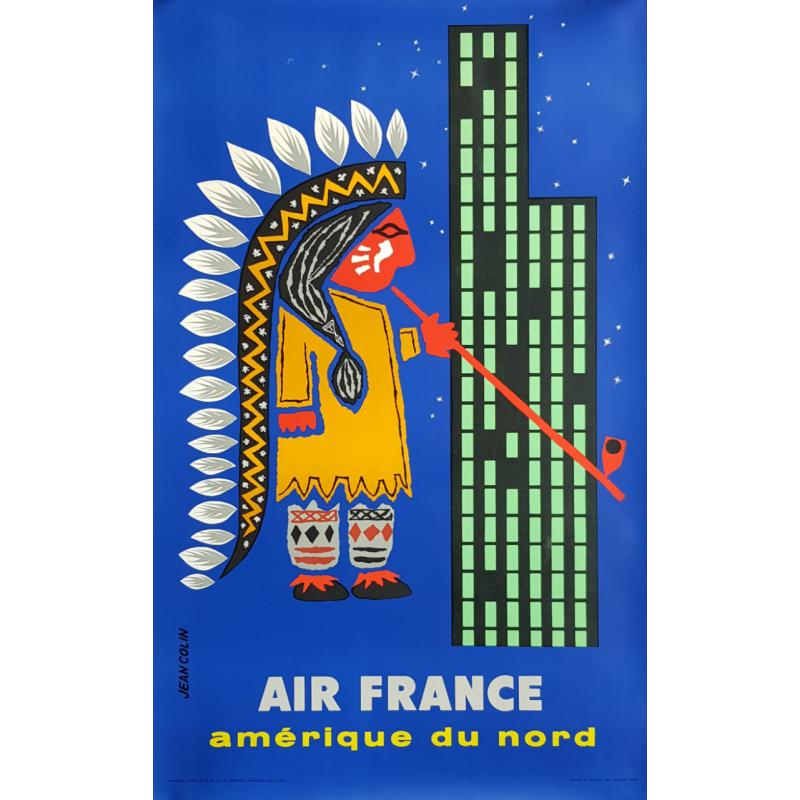 Affiche ancienne originale Air France Amérique du Nord Jean COLIN