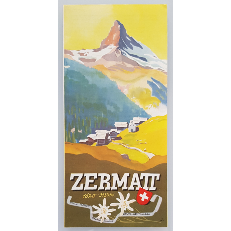 Original advertising flyer brochure Zermatt Switzerland