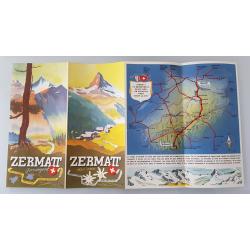 Brochure dépliant publicitaire Zermatt Suisse ouvert