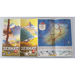 Original advertising flyer brochure Zermatt Switzerland Open