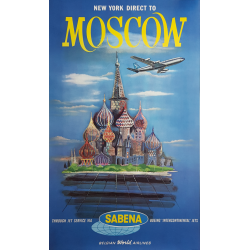 Original vintage poster Sabena New York direct to Moscow