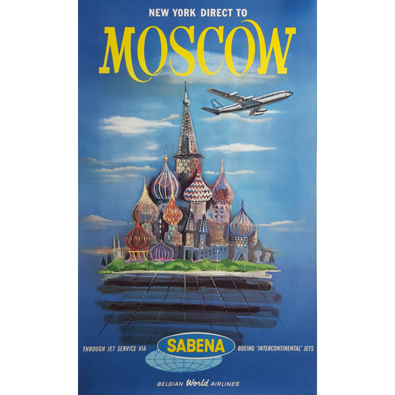 Affiche ancienne originale Sabena New York direct to Moscow