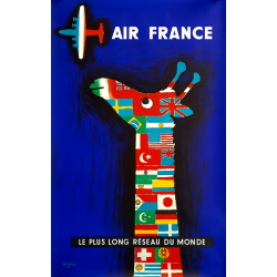 Original vintage poster Air France Le plus long réseau du monde SAVIGNAC