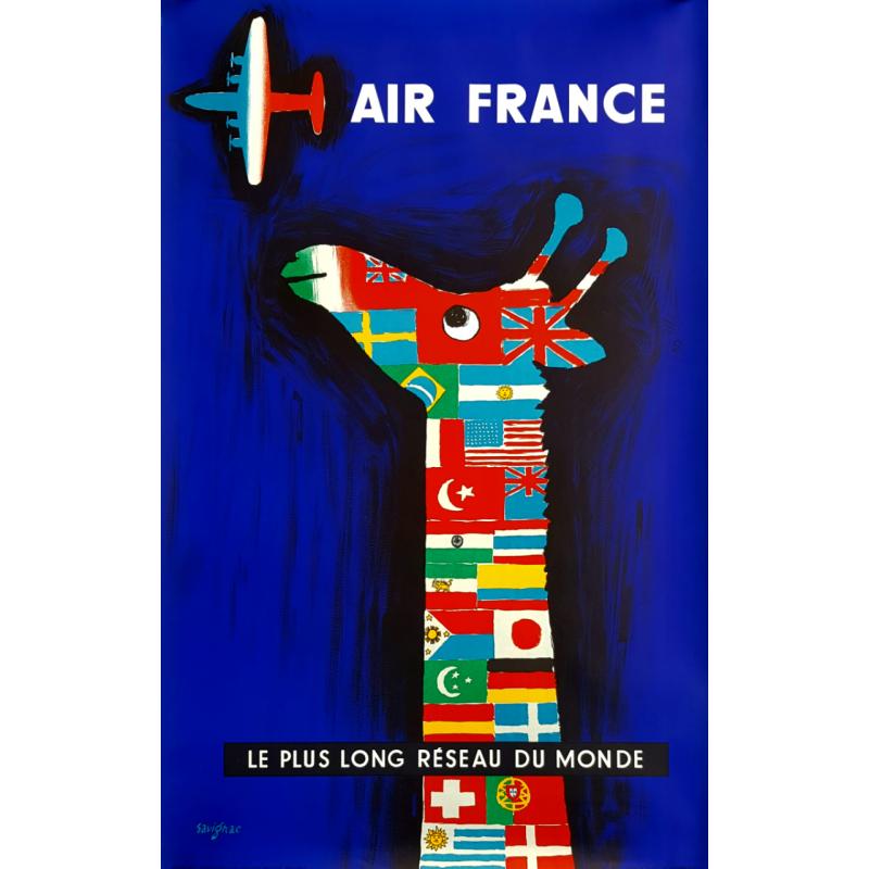 Affiche ancienne originale Air France Le plus long réseau du monde SAVIGNAC