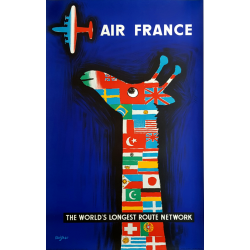 Affiche ancienne originale Air France The world's longest route network SAVIGNAC