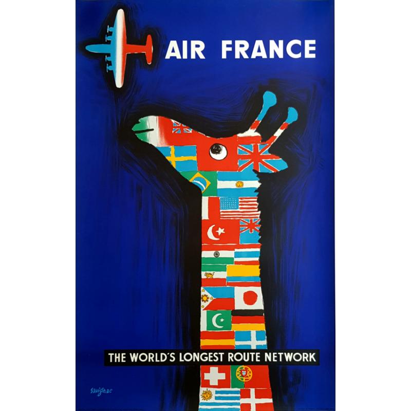 Affiche ancienne originale Air France The world's longest route network SAVIGNAC
