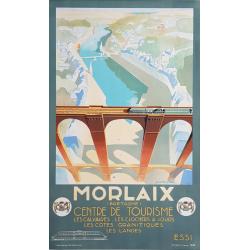 Affiche ancienne originale MORLAIX Centre de tourisme MICHEL