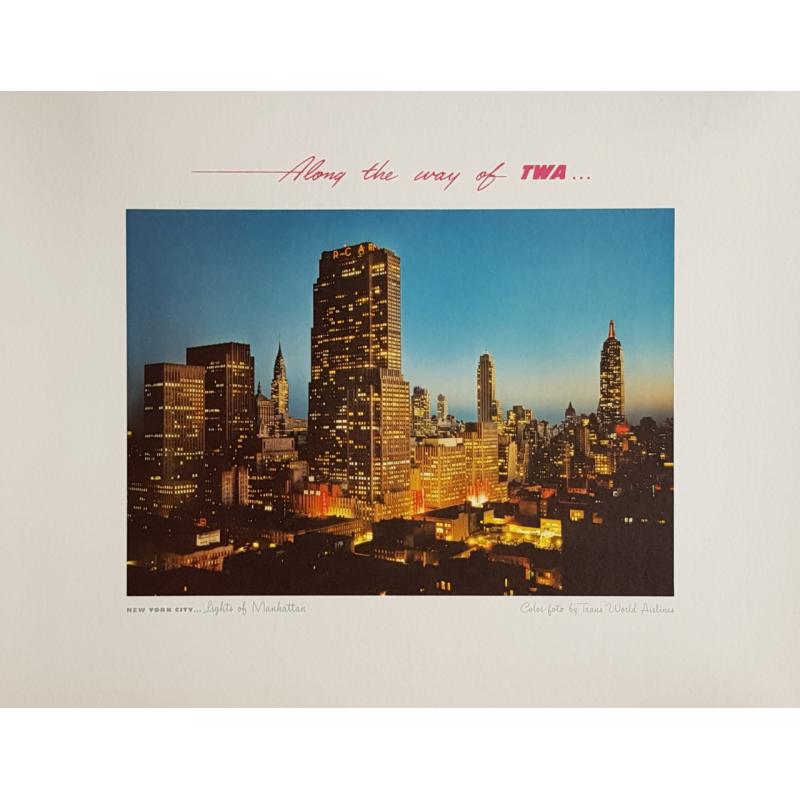 Affiche ancienne originale New-York city Lights of Manhattan TWA