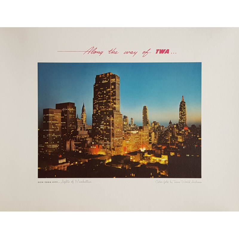 Original vintage poster New-York city Lights of Manhattan TWA