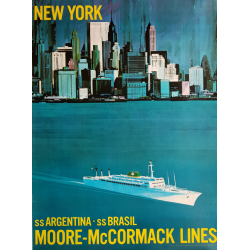 Affiche ancienne originale New-York Moore McCormack Lines