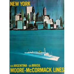 Original vintage poster New-York Moore McCormack Lines