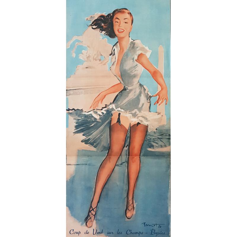 Original vintage poster coup de vent sur les champs élysées Pierre Laurent BRENOT