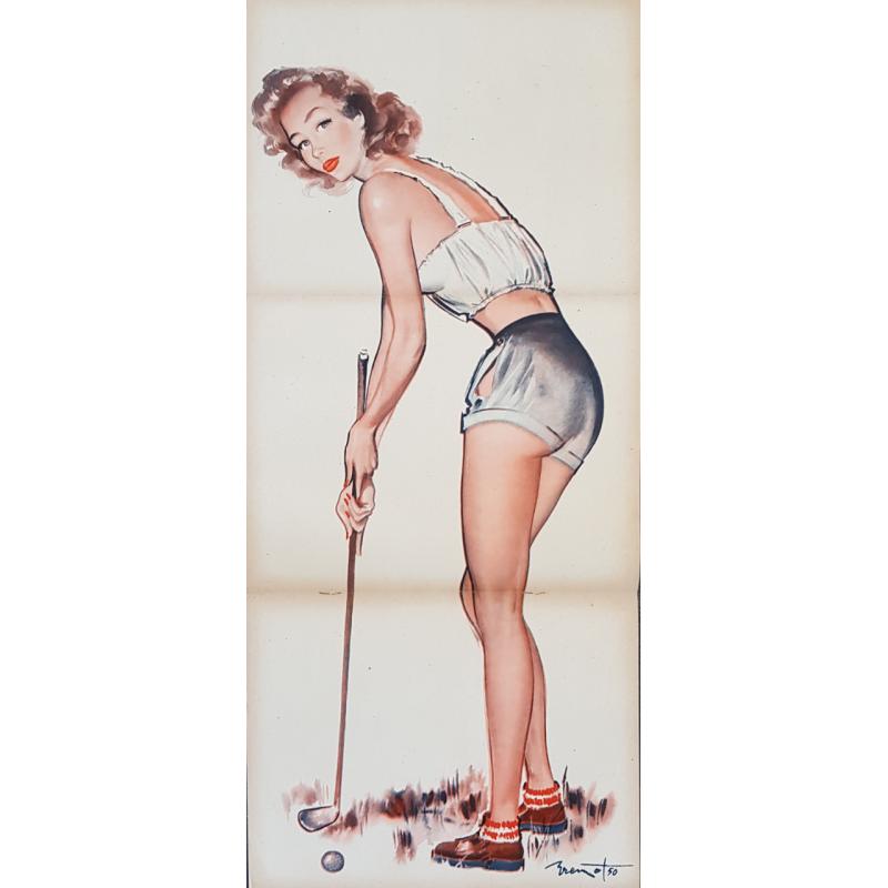 Affiche ancienne originale golf et revue Pierre Laurent BRENOT