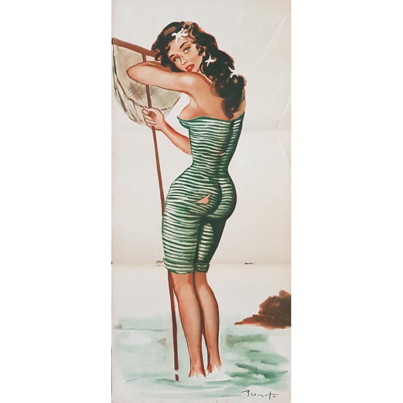 Affiche ancienne originale pêche à la crevette et revue Pierre Laurent BRENOT