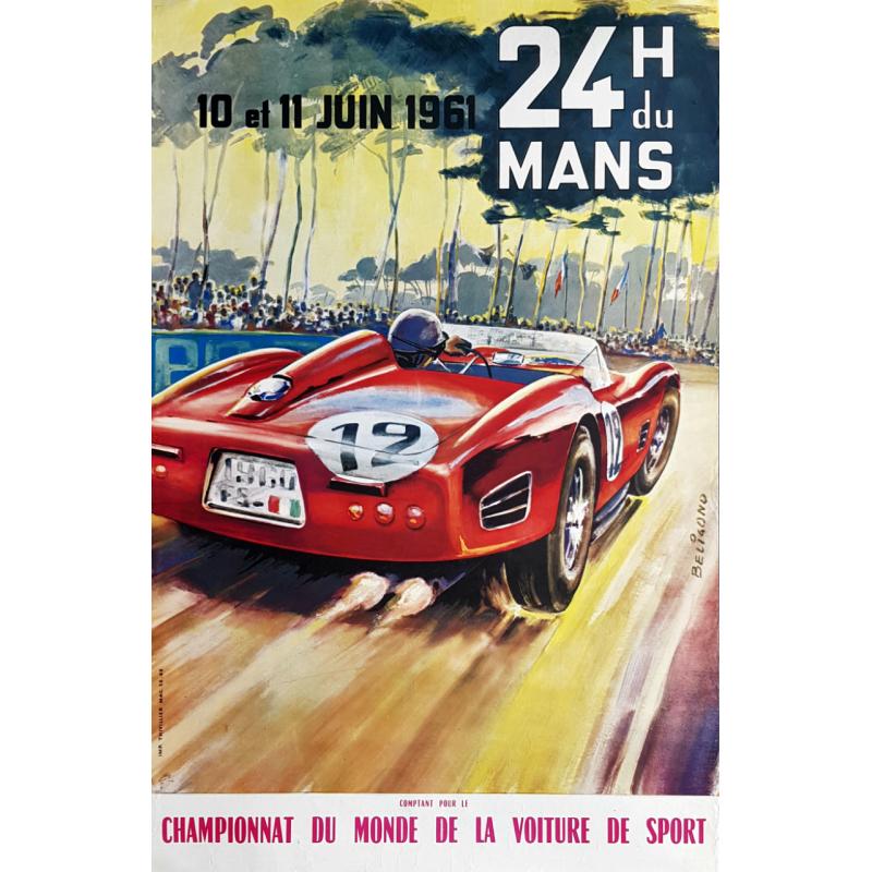 Affiche ancienne originale 24 heures du mans 1961 Michel BELIGOND