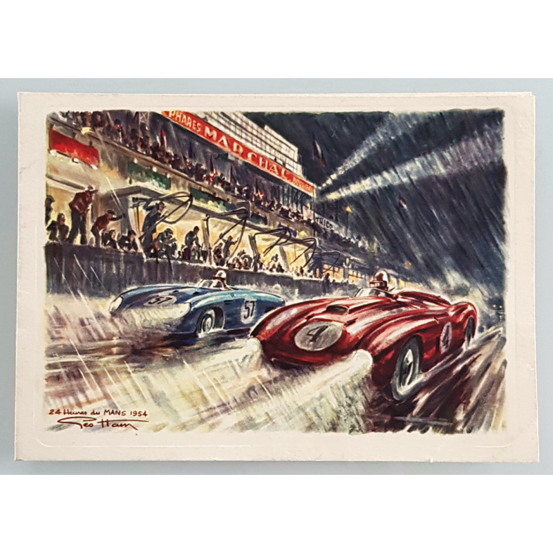 Original vintage card signed by Pierre MARCHAL 24 heures mans 1954