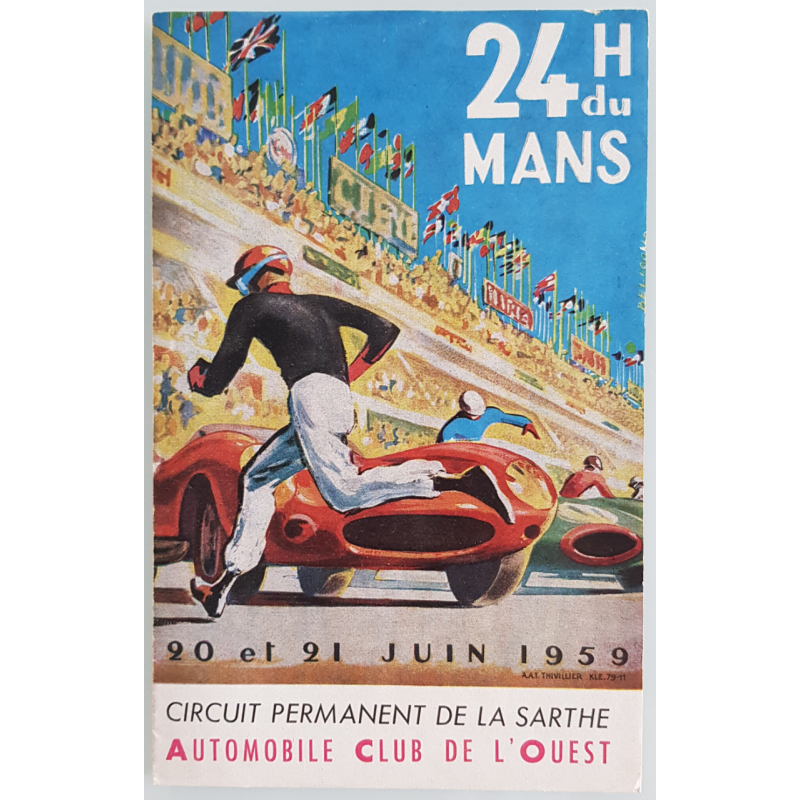 Original advertising flyer brochure 24 hours of le Mans 1959