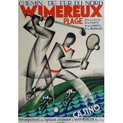Affiche ancienne originale golf Wimereux Plage Chemin de fer du Nord - Léon DUPIN
