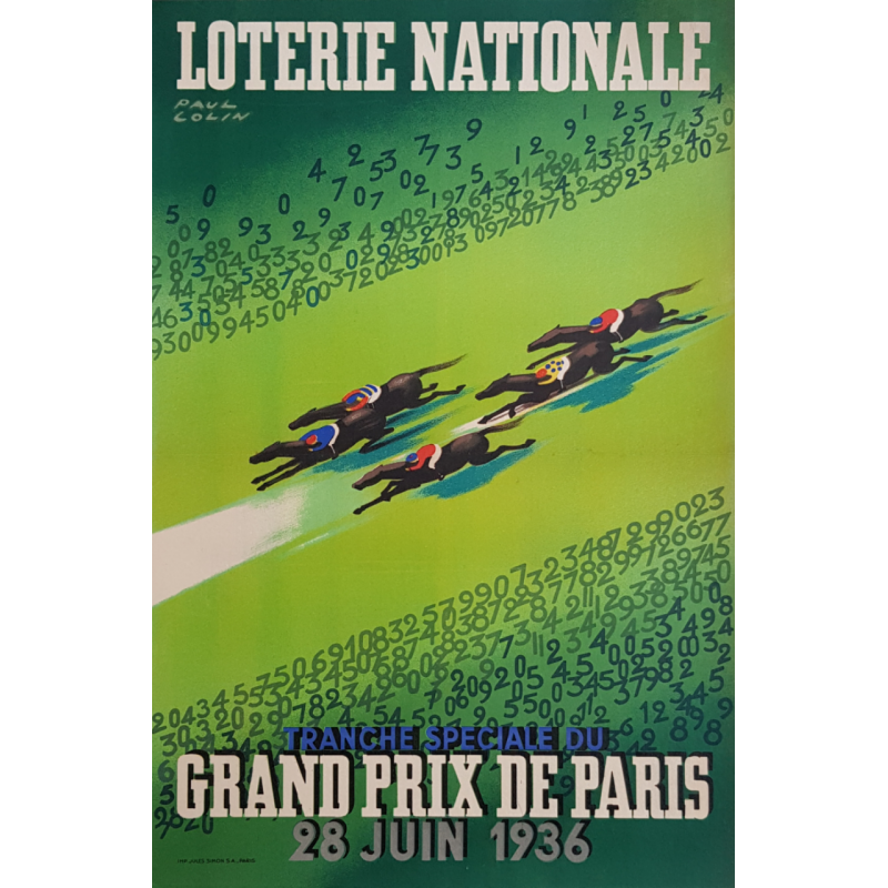 Affiche ancienne originale Grand Prix de Paris 1936 Loterie Nationale Paul COLIN