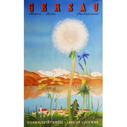 Affiche ancienne originale Gersau Lake of Lucerne Suisse Switzerland