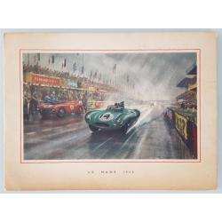 Original vintage card Jaguar Drivers Club 24 heures mans 1954