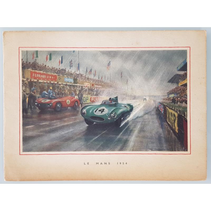 Carte ancienne originale Jaguar Drivers Club 24 heures mans 1954