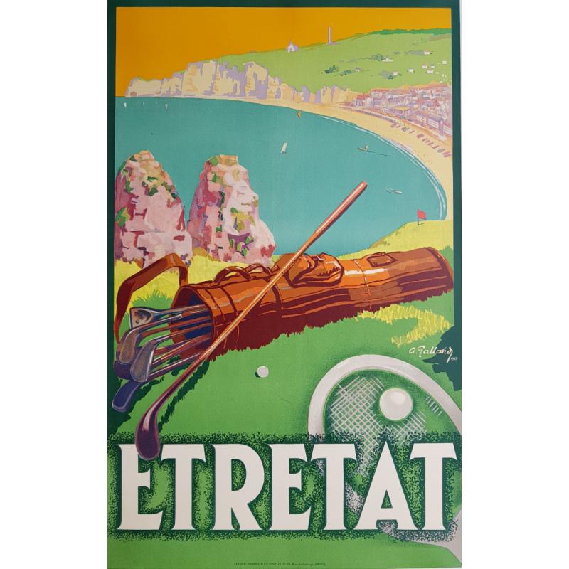 Affiche ancienne originale Etretat Golf Tennis André GALLAND 1929