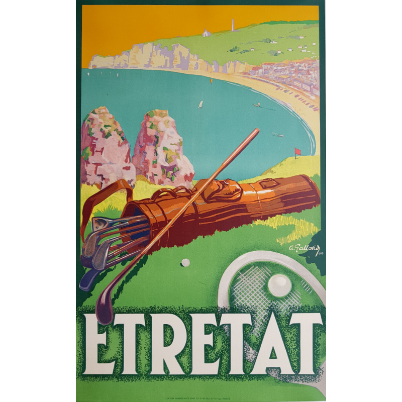 Original vintage poster Etretat Golf Tennis André GALLAND 1929