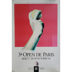 Affiche ancienne originale Tennis 3eme Open Paris BERCY