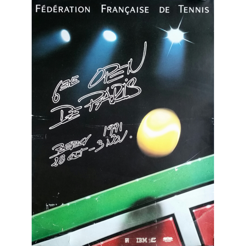 Affiche ancienne originale Tennis 6eme Open Paris BERCY