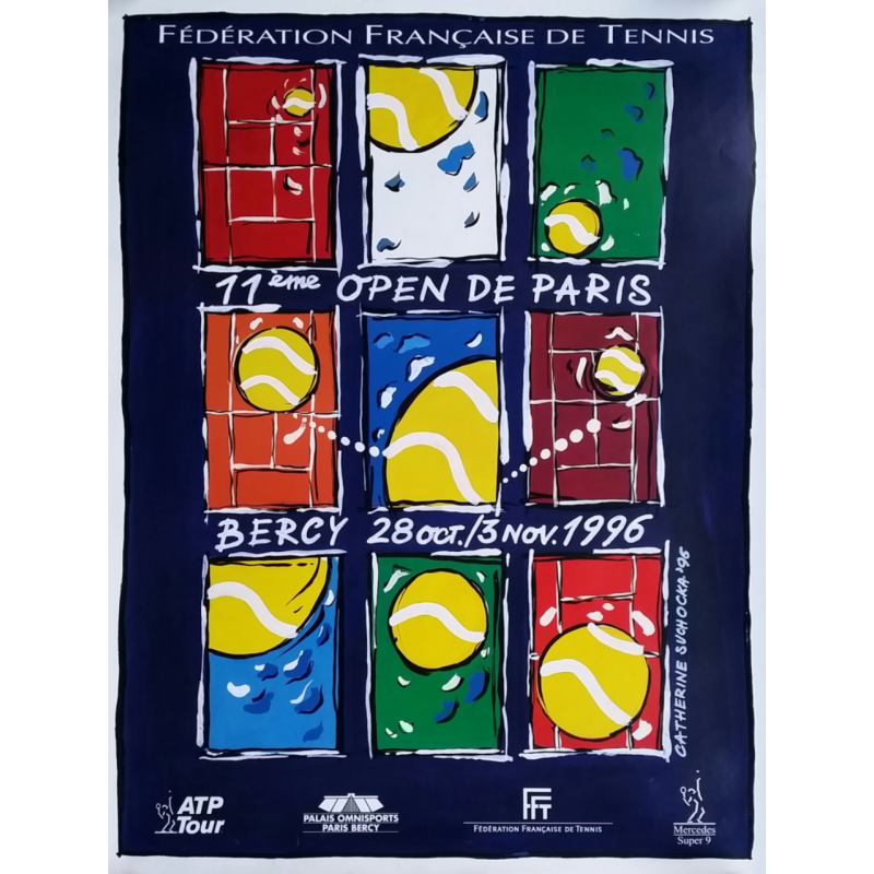 Affiche ancienne originale Tennis 11eme Open Paris BERCY par Catherine SUCHOCKA