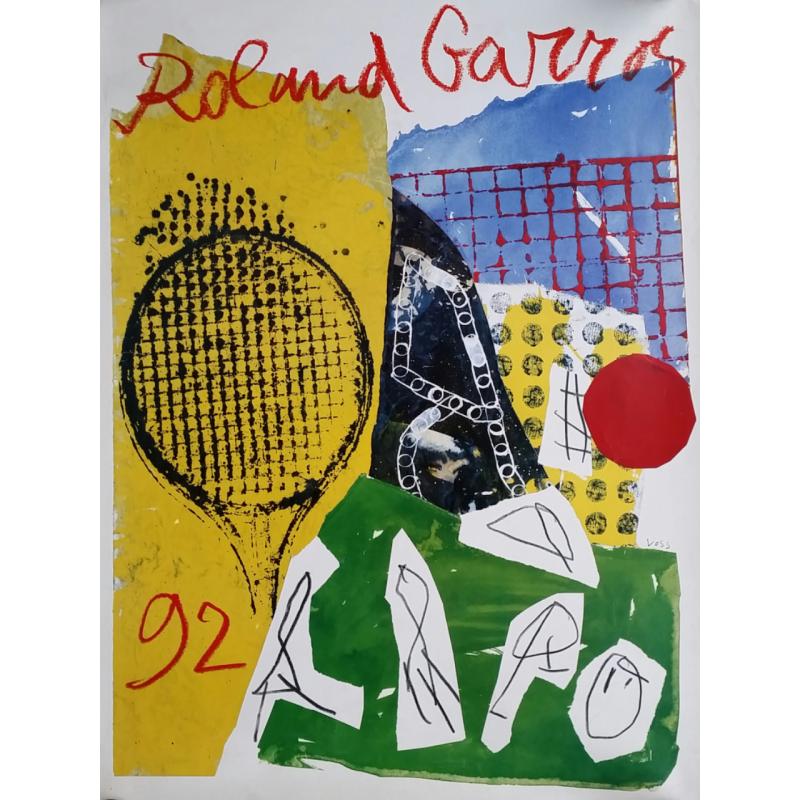 Affiche ancienne originale Tennis Roland Garros 1992 par VOSS