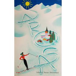 Affiche ancienne originale AROSA Suisse Donald BRUN