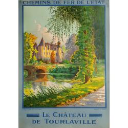 Affiche ancienne originale Château de Tourlaville Cherbourg Bretagne