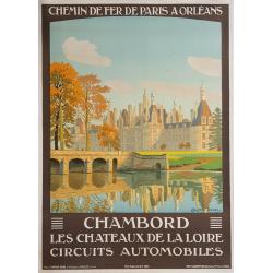 Affiche ancienne originale Château de CHAMBORD CONTANT-DUVAL