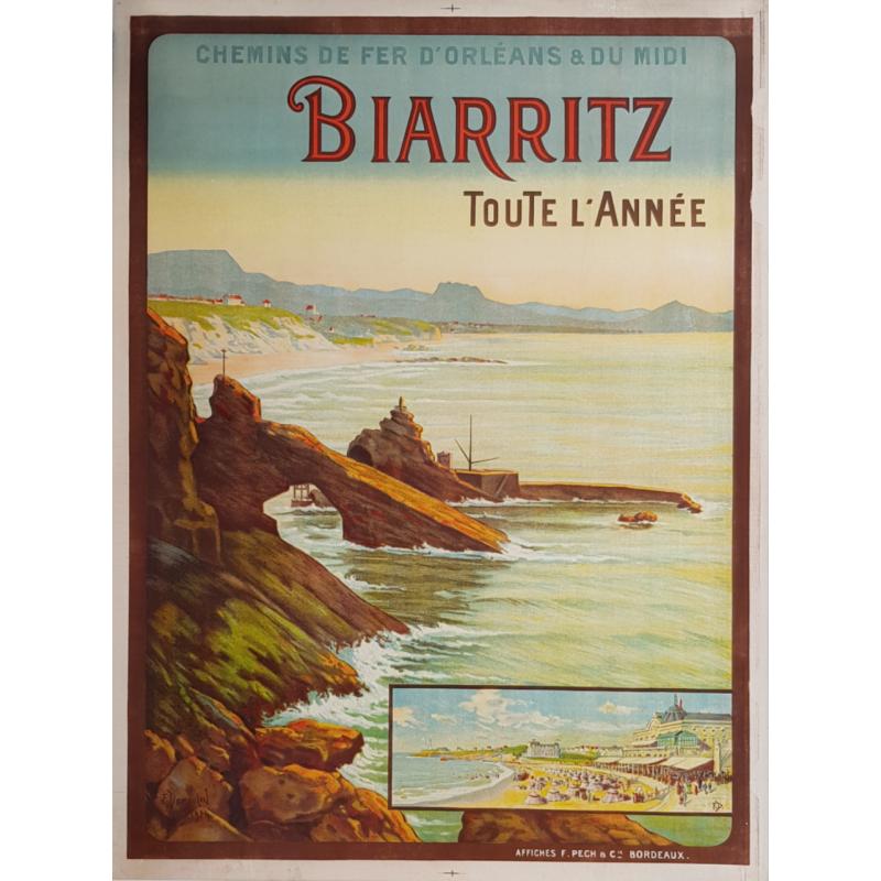 Affiche ancienne originale Biarritz Toute l'année DUMOULIN
