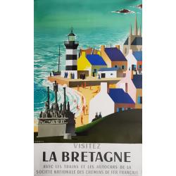 Affiche ancienne originale Visitez la Bretagne SNCF JACQUELIN
