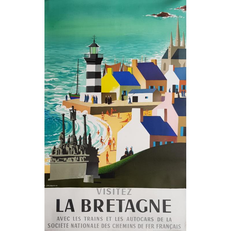 Original vintage poster Visitez la Bretagne SNCF JACQUELIN