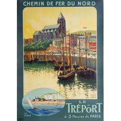 Affiche ancienne originale Le Tréport Chemin de Fer du Nord ALO