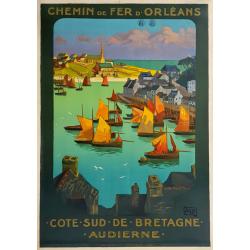 Affiche ancienne originale Audierne Côte sud de Bretagne ALO