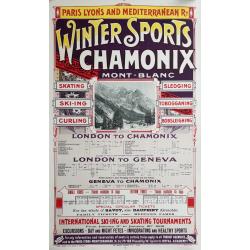 Affiche ancienne originale CHAMONIX Winter Sports Mont-Blanc PLM