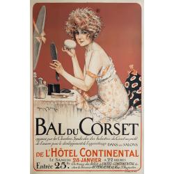 Original vintage poster Bal du Corset Hotel intercontinental MILLIERE
