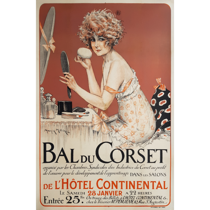 Affiche ancienne originale Bal du Corset Hotel intercontinental MILLIERE