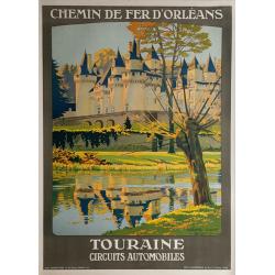 Affiche ancienne originale Touraine Château d'USSÉ CONTANT-DUVAL
