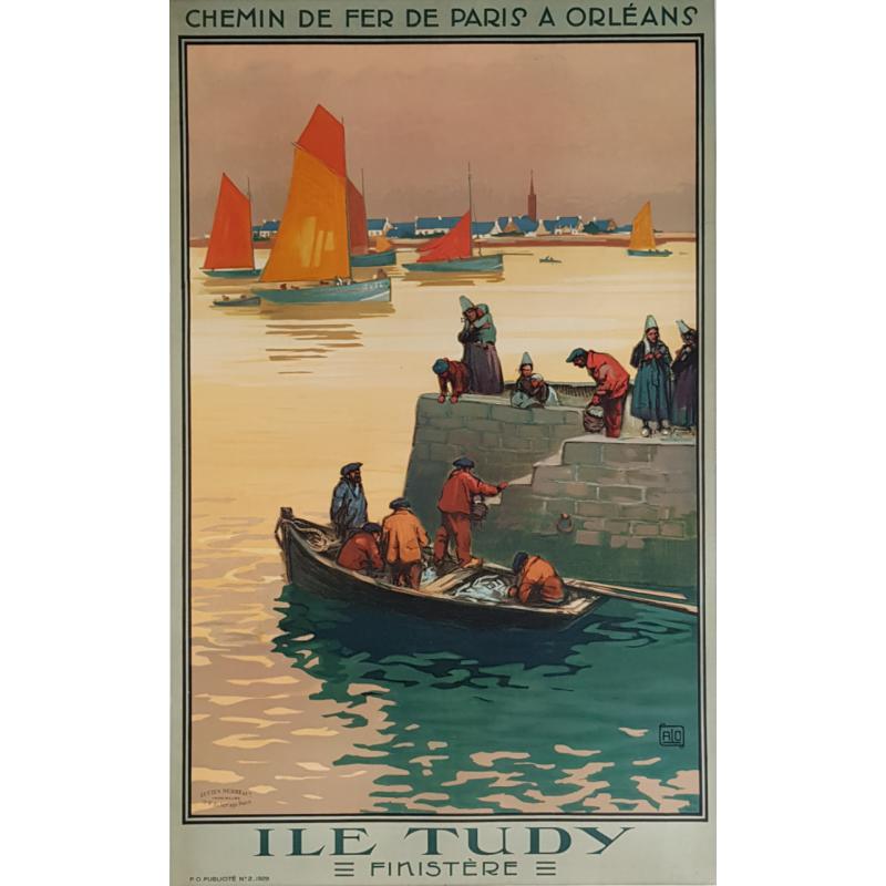 Affiche ancienne originale Ile TUDY Finistère ALO